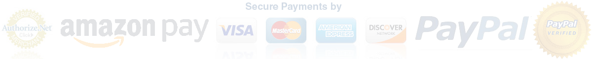 Secure Payments by PayPal, Amazon Pay, Visa, Master, American Express and Discover
